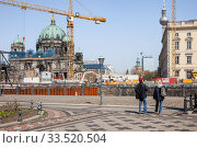 Berlin Cathedral, Television Tower and Berlin Palace in Berlin-Mitte (2019 год). Редакционное фото, агентство Caro Photoagency / Фотобанк Лори