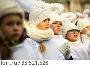 Купить «Poland, Poznan - Epiphany Day is officially celebrated at the Old Market Square. Girls dressed as angels.», фото № 33521528, снято 6 января 2017 г. (c) Caro Photoagency / Фотобанк Лори