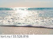 Купить «Idyllic tropical beach with white sand, turquoise ocean water and blue sky on Caribbean island», фото № 33526816, снято 10 апреля 2017 г. (c) Дмитрий Травников / Фотобанк Лори