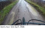 Купить «puddles and holes on the roads create an obstacle for the cyclist», видеоролик № 33527784, снято 25 ноября 2019 г. (c) Aleksandr Sulimov / Фотобанк Лори