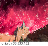 Купить «Troitskaya (Trinity) Tower and fireworks in honor of Victory Day celebration (WWII), Moscow Kremlin, Russia», фото № 33533132, снято 9 мая 2019 г. (c) Владимир Журавлев / Фотобанк Лори