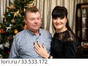 Купить «Радостные мужчина и женщина стоят на фоне новогодней ёлке», эксклюзивное фото № 33533172, снято 9 марта 2020 г. (c) Игорь Низов / Фотобанк Лори