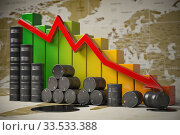 Crisis in oil and petroleum ndustry. Oil barrels and falling graph on world map background. Oil price or production decrease concept. 3d illustration. Стоковое фото, фотограф Maksym Yemelyanov / Фотобанк Лори