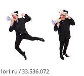 Купить «Businessman clown with loudspeaker on white», фото № 33536072, снято 28 октября 2013 г. (c) Elnur / Фотобанк Лори