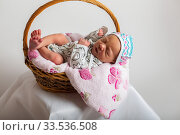 Smiling a newborn baby five days old. Стоковое фото, фотограф Василий Кочетков / Фотобанк Лори
