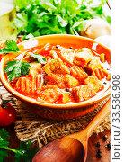 Купить «Meat stew with vegetables», фото № 33536908, снято 7 апреля 2020 г. (c) Надежда Мишкова / Фотобанк Лори