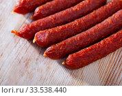 Купить «Close up view of tyrolean sausages», фото № 33538440, снято 22 мая 2020 г. (c) Яков Филимонов / Фотобанк Лори