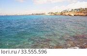 Video panorama of the coastal plateau of Cape Greco with the Ayia Napa on the background. Cyprus. Стоковое видео, видеограф Serg Zastavkin / Фотобанк Лори