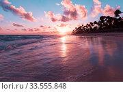 Colorful Caribbean landscape at sunrise (2020 год). Стоковое фото, фотограф EugeneSergeev / Фотобанк Лори
