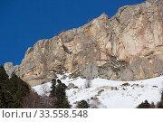 Купить «Beautiful mountains covered with snow. Sunny day and blue sky on a frosty day», фото № 33558548, снято 5 марта 2019 г. (c) Олег Хархан / Фотобанк Лори