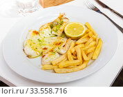 Roasted sepia with fried potatoes, green sauce and lemon. Стоковое фото, фотограф Яков Филимонов / Фотобанк Лори