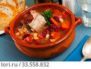 Купить «Pork stewed with beans», фото № 33558832, снято 26 мая 2020 г. (c) Яков Филимонов / Фотобанк Лори