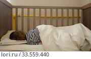 Купить «Anonymous toddler lying in crib», видеоролик № 33559440, снято 2 апреля 2020 г. (c) Ekaterina Demidova / Фотобанк Лори