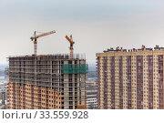 Купить «Строительство высотных домов в г. Королев, Россия.», фото № 33559928, снято 5 июля 2020 г. (c) chaoss / Фотобанк Лори