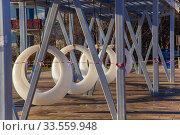 Купить «Закрытая детская спортивная площадка во время эпидемии коронавируса, Россия, Королев», фото № 33559948, снято 15 апреля 2020 г. (c) chaoss / Фотобанк Лори