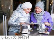 Mature women with city guide at terrace cafe. Стоковое фото, фотограф Яков Филимонов / Фотобанк Лори