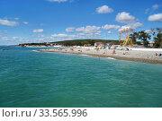 Купить «Чёрное море, Краснодарский край, село Дивноморское, поселковый пляж», эксклюзивное фото № 33565996, снято 23 сентября 2019 г. (c) Dmitry29 / Фотобанк Лори