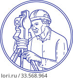 Купить «Mono line style illustration of a surveyor geodetic engineer with theodolite instrument surveying viewed from side set inside circle on isolated background.», фото № 33568964, снято 3 июня 2020 г. (c) easy Fotostock / Фотобанк Лори