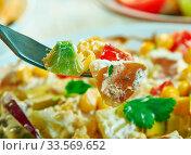 Купить «Southwestern Potato Salad, Southwest cuisine, Traditional assorted American dishes, Top view.», фото № 33569652, снято 10 июля 2020 г. (c) easy Fotostock / Фотобанк Лори