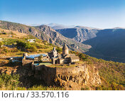 Top view of the Tatev monastery-armenian monastery complex of the late IX-early X centuries in Syunik region in 20 km from the town of Goris . Armenia (2018 год). Стоковое фото, фотограф Наталья Волкова / Фотобанк Лори
