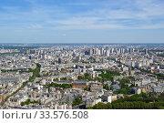 Купить «The city skyline at daytime. Paris, France. Taken from the tour Montparnasse», фото № 33576508, снято 10 мая 2012 г. (c) Владимир Журавлев / Фотобанк Лори