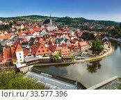 Купить «Top view of Cesky Krumlov, Czech Republic», фото № 33577396, снято 6 сентября 2014 г. (c) Наталья Волкова / Фотобанк Лори