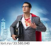 Купить «Superhero preparing to save the city», фото № 33580040, снято 4 июля 2020 г. (c) Elnur / Фотобанк Лори