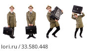 Купить «Young man with briefcase isolated on white», фото № 33580448, снято 27 октября 2013 г. (c) Elnur / Фотобанк Лори
