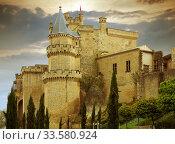 Toned photo of ancient castle. Olite (2016 год). Стоковое фото, фотограф Яков Филимонов / Фотобанк Лори