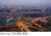 Aerial view of Warsaw at twilight. Стоковое фото, фотограф Яков Филимонов / Фотобанк Лори
