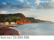 Sidmouth coastline and red Sandstone cliffs of Jurassic Coast, Devon, England, November 2009. Стоковое фото, фотограф Guy Edwardes / Nature Picture Library / Фотобанк Лори