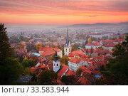 Купить «Ljubljana city centre from Ljubljana Castle at sunset, Slovenia, October 2008», фото № 33583944, снято 16 июля 2020 г. (c) Nature Picture Library / Фотобанк Лори
