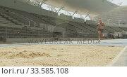 Купить «Caucasian athlete doing long jump», видеоролик № 33585108, снято 28 августа 2019 г. (c) Wavebreak Media / Фотобанк Лори