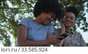 Купить «Two mixed race women listening music in park», видеоролик № 33585924, снято 17 мая 2019 г. (c) Wavebreak Media / Фотобанк Лори