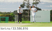 Cricket player throwing a ball as far as possible. Стоковое видео, агентство Wavebreak Media / Фотобанк Лори