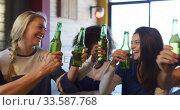 Купить «Friends at the bar in a pub having fun», видеоролик № 33587768, снято 15 ноября 2019 г. (c) Wavebreak Media / Фотобанк Лори