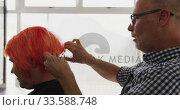 Купить «Side view woman having her hair styled by a hairdresser», видеоролик № 33588748, снято 29 апреля 2019 г. (c) Wavebreak Media / Фотобанк Лори