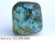Купить «African turquoise is a varety of jasper. Jasper is an aggregate of microparticles of quartz. Sample.», фото № 33598084, снято 5 апреля 2020 г. (c) age Fotostock / Фотобанк Лори