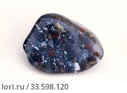 Купить «Brecciated jasper cabochon. Jasper is an aggregate of microparticles of quartz. Sample.», фото № 33598120, снято 3 апреля 2020 г. (c) age Fotostock / Фотобанк Лори
