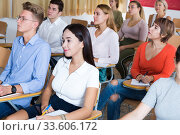 Купить «Female student on training session», фото № 33606172, снято 7 июля 2020 г. (c) Яков Филимонов / Фотобанк Лори
