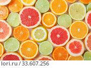Купить «Flat lay of citrus fruits like lime, lemon, orange and tangerine», фото № 33607256, снято 6 апреля 2020 г. (c) Евдокимов Максим / Фотобанк Лори