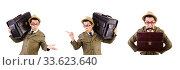 Купить «Young man with briefcase isolated on white», фото № 33623640, снято 27 октября 2013 г. (c) Elnur / Фотобанк Лори