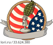 Купить «Illustration of a world war two grenade mounted on a vintage microphone stand with USA stars and stripes flag in the background with ribbon scroll banner...», фото № 33624380, снято 10 июля 2020 г. (c) age Fotostock / Фотобанк Лори