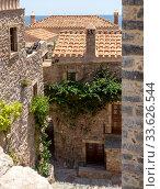 View of fragment street fortified town Monemvasia (Laconia, Greece, Peloponnese) (2019 год). Стоковое фото, фотограф Татьяна Ляпи / Фотобанк Лори