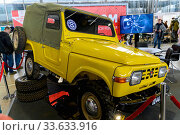 Купить «Russia, Moscow, March 2020. Yellow four-wheel drive SUV produced in the USSR.», фото № 33633916, снято 8 марта 2020 г. (c) Artem Sobov / Фотобанк Лори