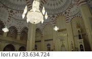 Grozny, Chechnya, Russia - September 30, 2019: Interior of the main mosque of the Chechen Republic - Heart of Chechnya. Редакционное видео, видеограф Aleksandr Lutcenko / Фотобанк Лори