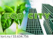 Символ недвижимости на фоне зеленого растения . Концепция экологического строительства . Стоковое фото, фотограф Сергеев Валерий / Фотобанк Лори