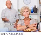 Купить «Upset mature woman after discord with man», фото № 33634816, снято 28 августа 2017 г. (c) Яков Филимонов / Фотобанк Лори