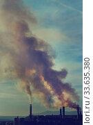 Power plant, smoke from the chimney. (2019 год). Стоковое фото, фотограф Alexander Tihonovs / Фотобанк Лори
