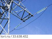Высоковольтная опора линии электропередачи. Траверса, изолятор. Стоковое фото, фотограф Александр Романов / Фотобанк Лори